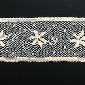L-74 Ivory - Lace Insertion - 40mm Flower and Dot Design.