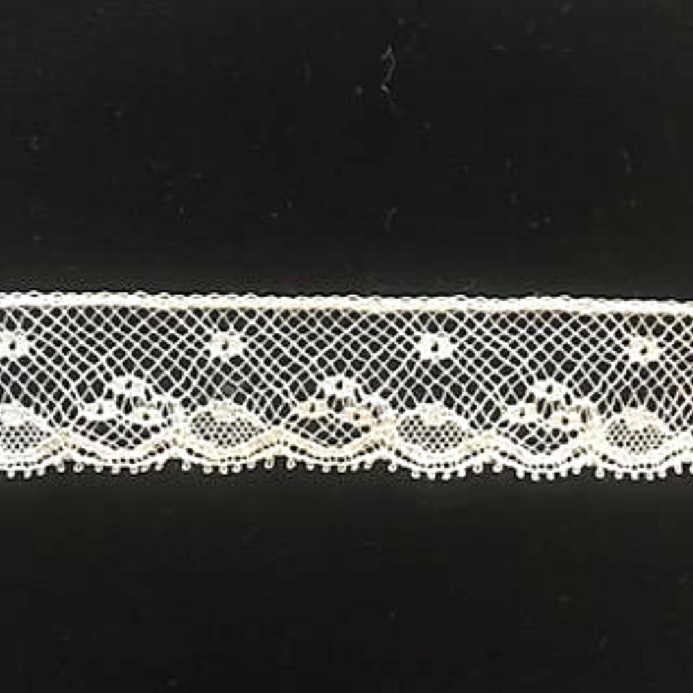 L-154N Ecru - Lace Edging - Narrow - 20mm Floral and Dot Design.
