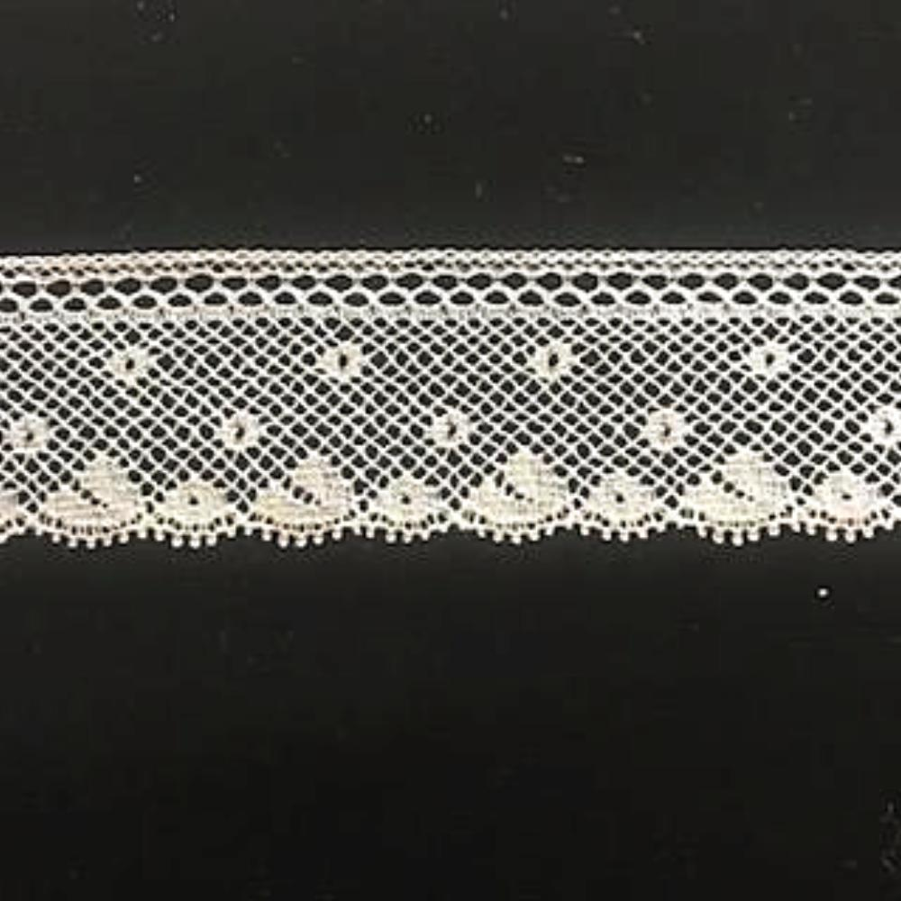 L-155 Ecru - Lace Edging - 25mm Lattice Heading.
