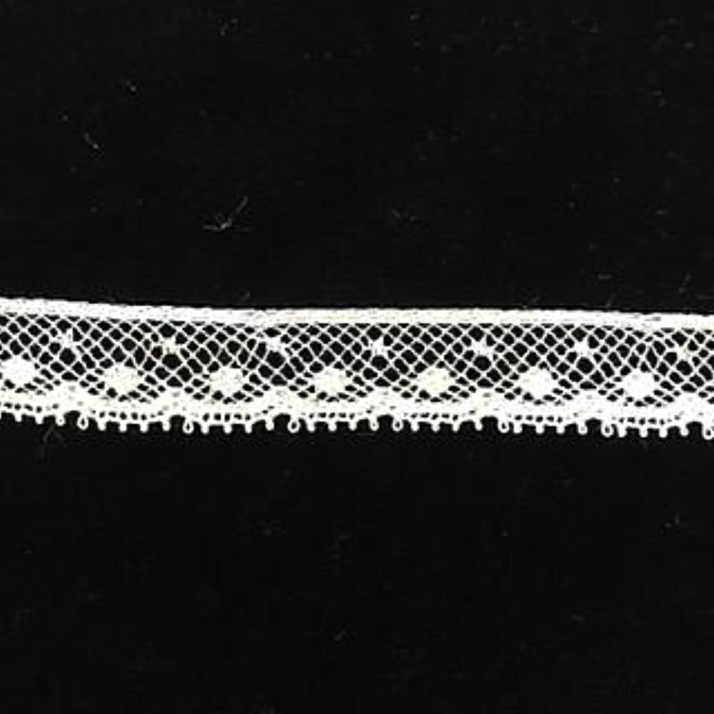 L-125 Ecru - Lace Edging - 12mm Large Dot Design.