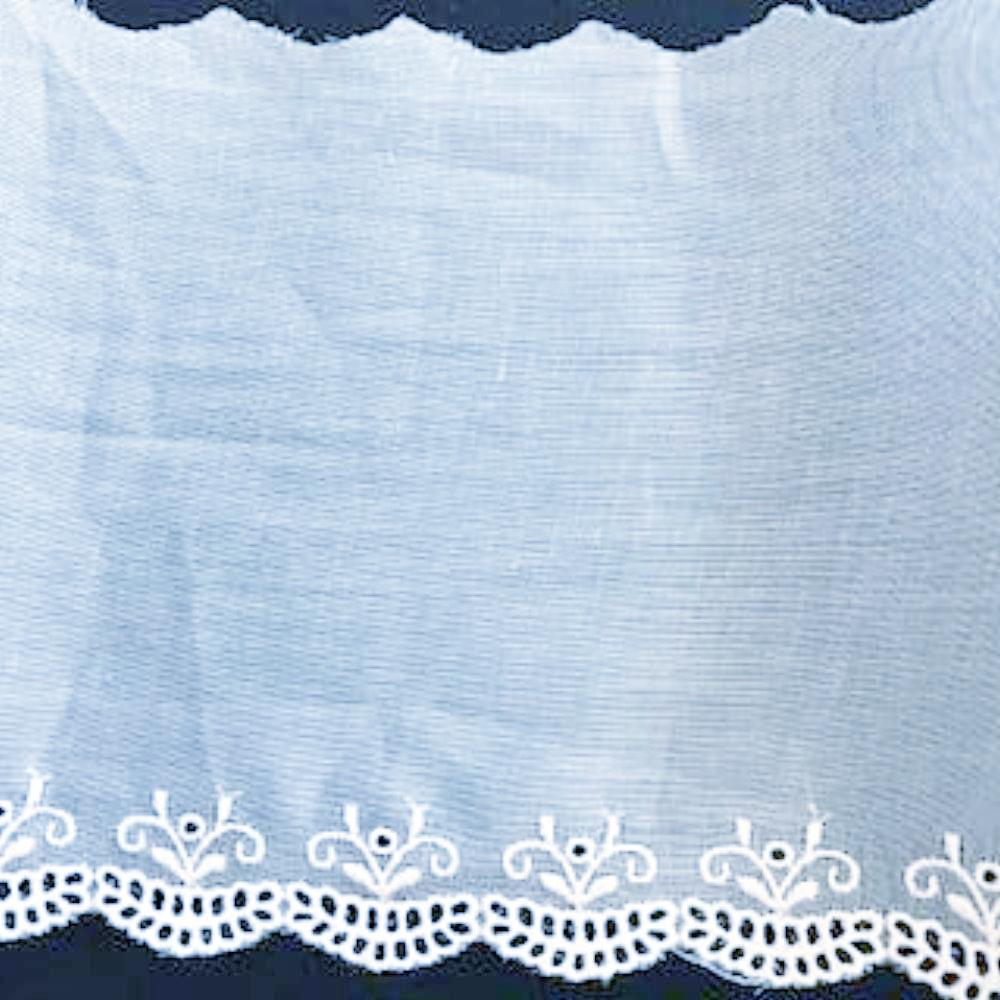 E-57 White - 130mm Embroidered Edging on Swiss Cotton Organdy fabric.