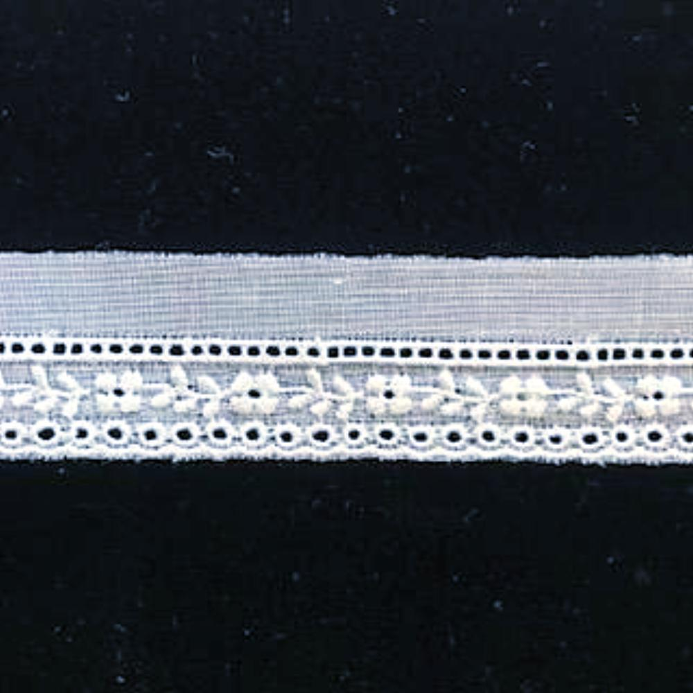 E-77 White - 12mm Embroidered Entredeux Edging.