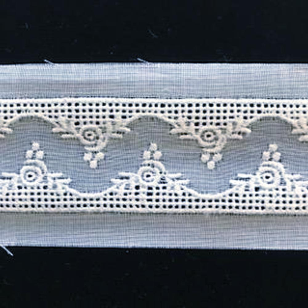 E-79 White, Ivory and Ecru - 25mm Embroidered Entredeux Insertion.