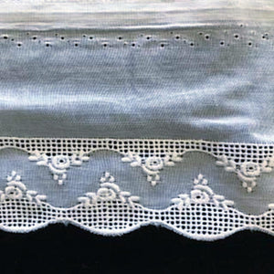 E-80 White - 30mm Embroidered Edging.