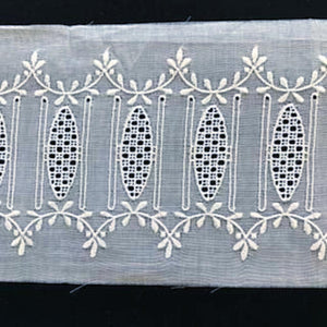 E-82B White - 100mm Beaded Embroidery Insertion.