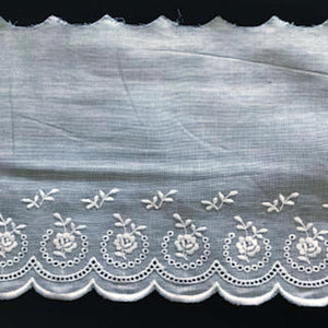 E-96 White, Ivory and Ecru - 120mm Embroidered Edging.