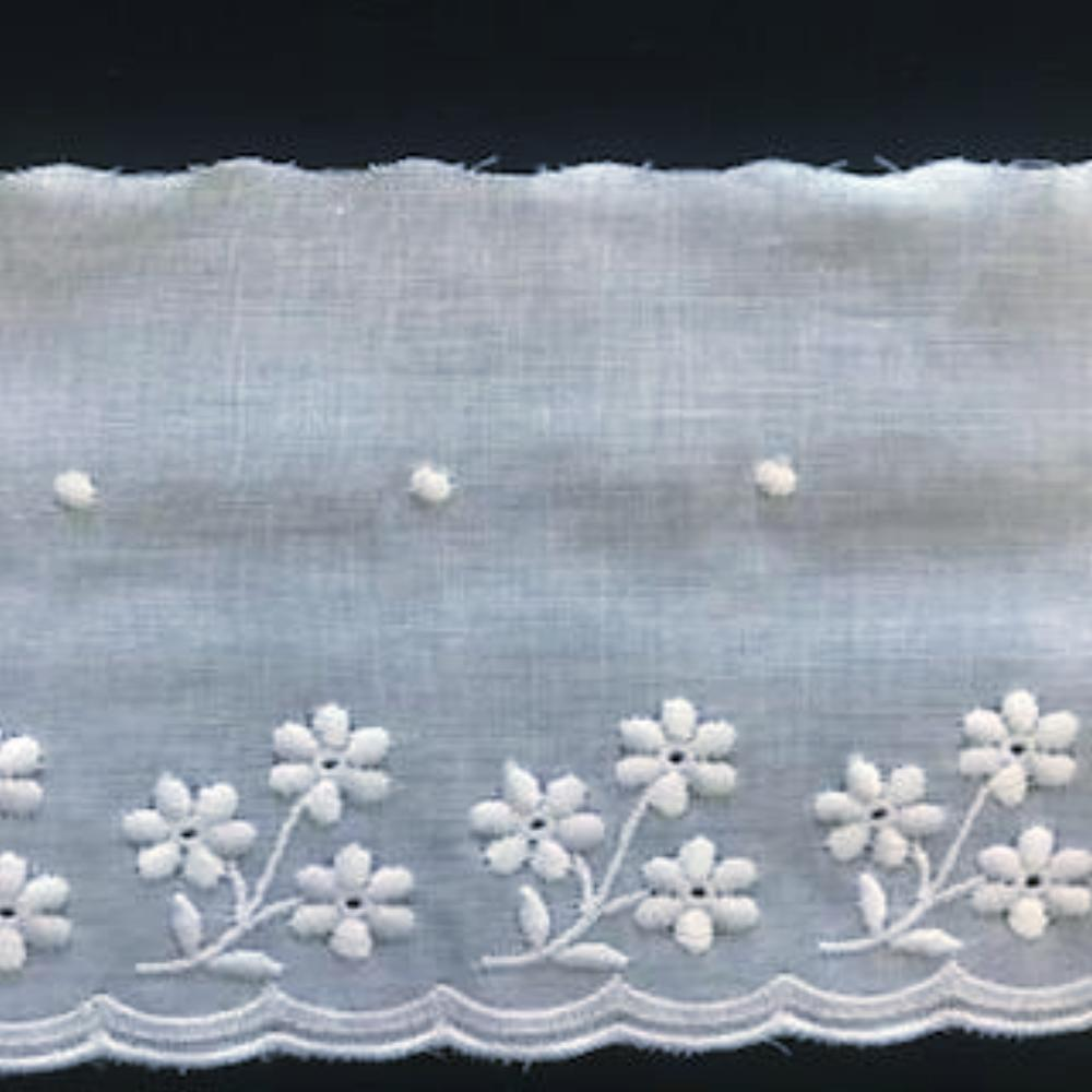 E-102 White - 70mm Embroidered Edging.