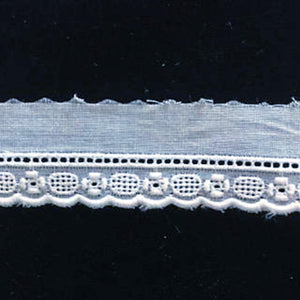E-128 White - 12mm Embroidered Entredeux Edging.