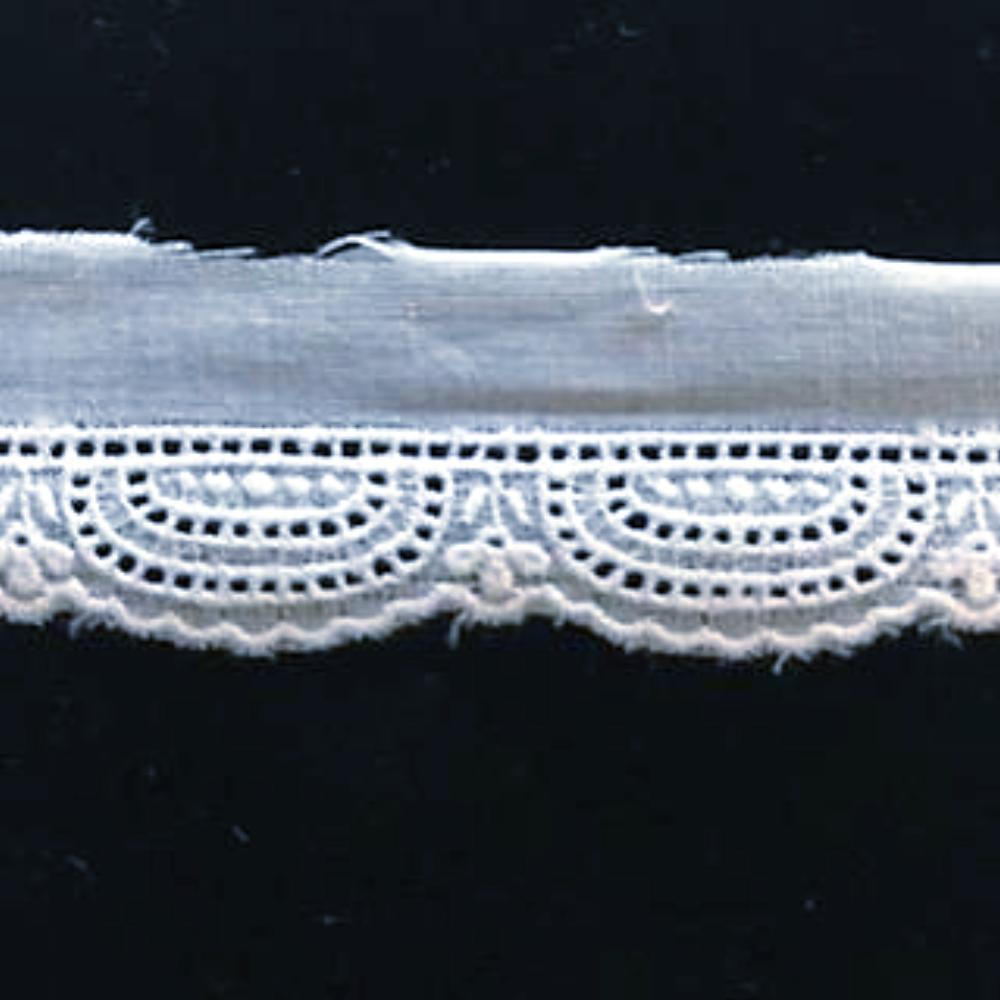 E-141 White - 12mm Entredeux Edging.