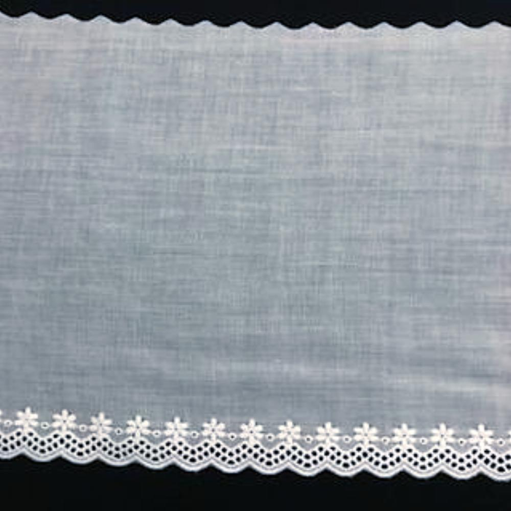 E-611 White - 130mm Embroidered Edging.
