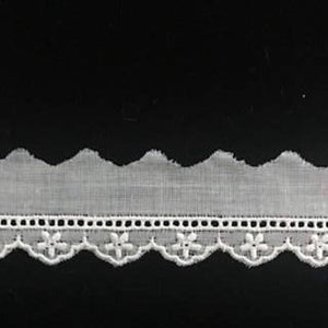 E-106 Ivory and Ecru - 10mm Embroidered Entredeux Edging.