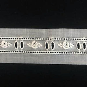 E-24 Ivory and Ecru - 15mm Embroidered Entredeux - Beaded Design.