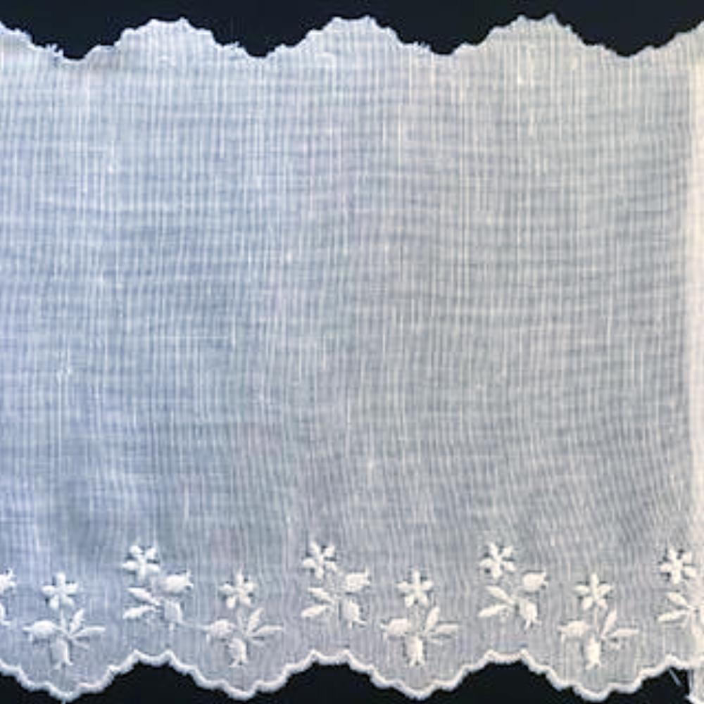 E-503 White,Blue,Pink - 140mm Embroidered Edging on Cotlin Fabric (50% Cotton/50% Linen).