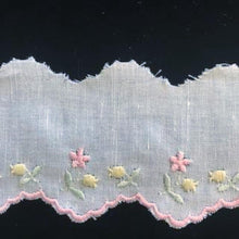 E-501 White,Blue,Pink - 55mm Embroidered Edging on Cotlin Fabric (50% Cotton/50% Linen).