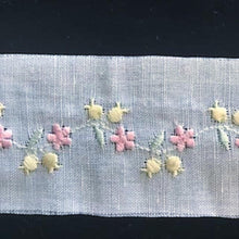 E-502 Blue,Pink, White - Embroidered Insertion on Cotlin Fabric (50% Cotton/50% Linen)