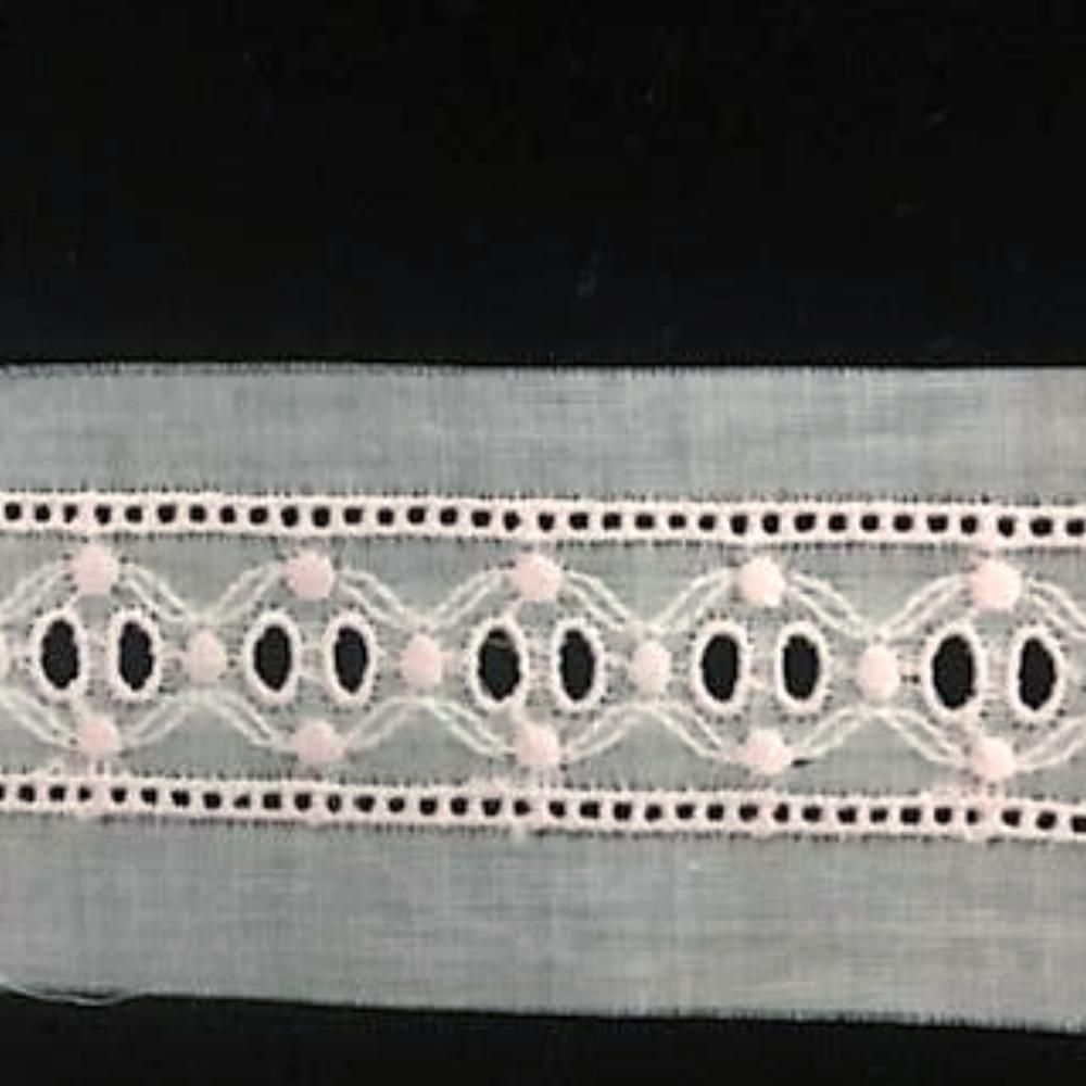 E-45 Pink and Appenzal - 20mm Embroidered Insertion.