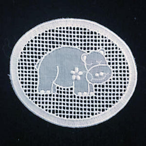 E - Happy Hippo White - Swiss Cotton Embroidery Medallion.