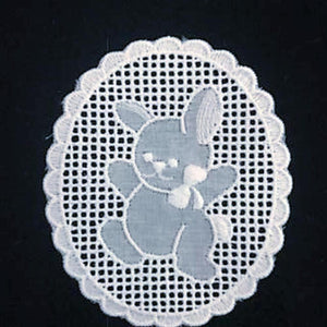 E-Bunny White - Swiss Cotton Embroidery Medallion.