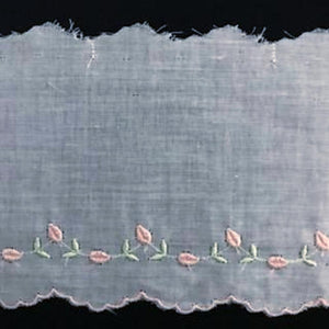 E-122 Blue, Pink, Appenzal and Triessen Rose - 80mm Swiss Cotton Embroidery.
