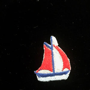 Vintage Swiss Embroidered Cotton Motif - Sailing Boat - Code 3627012