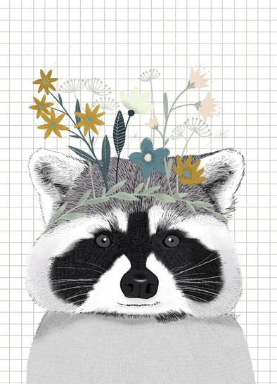 Affiche Raccoon and Flowers - A4 - Loulook Kids