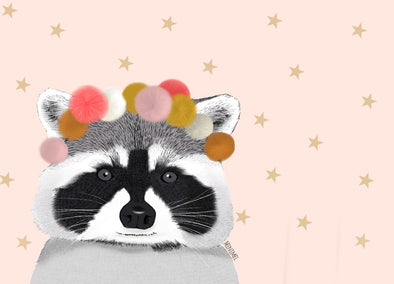 Carte Pink Racoon - A6 - Loulook Kids