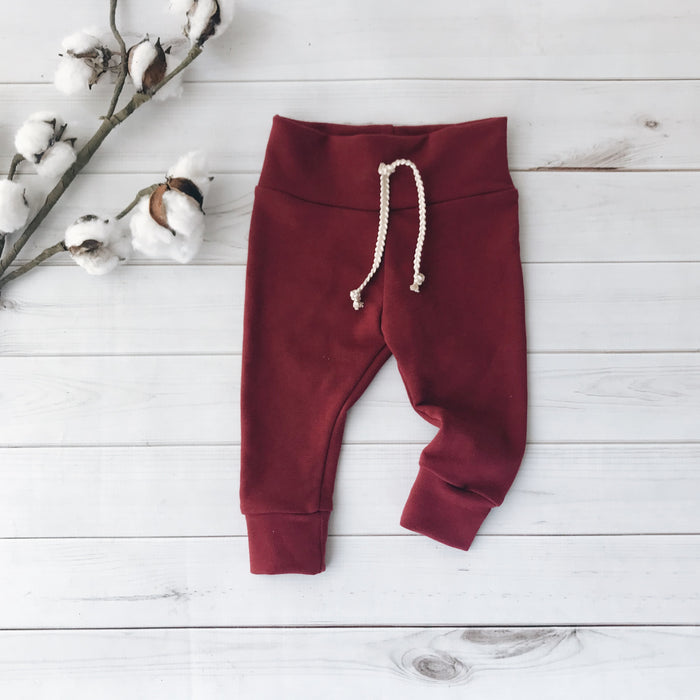 Burgundy  - Solid Leggings