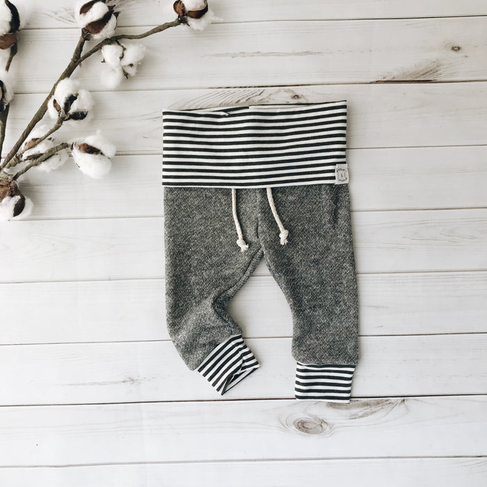 Light Gray and Bamboo Stripe Joggers