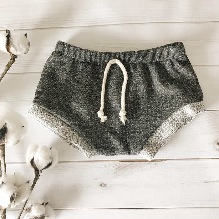 Charcoal French Terry Shorties