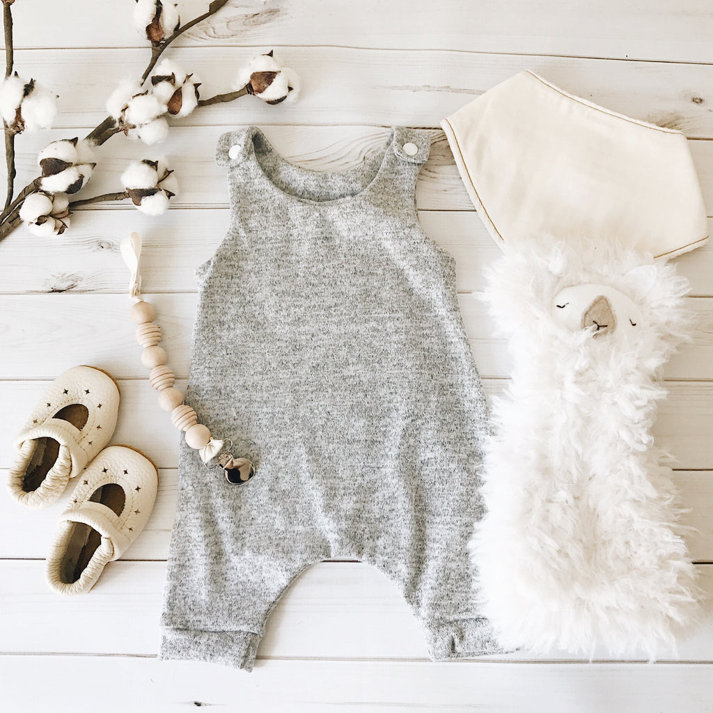Gray Sweater Knit Romper