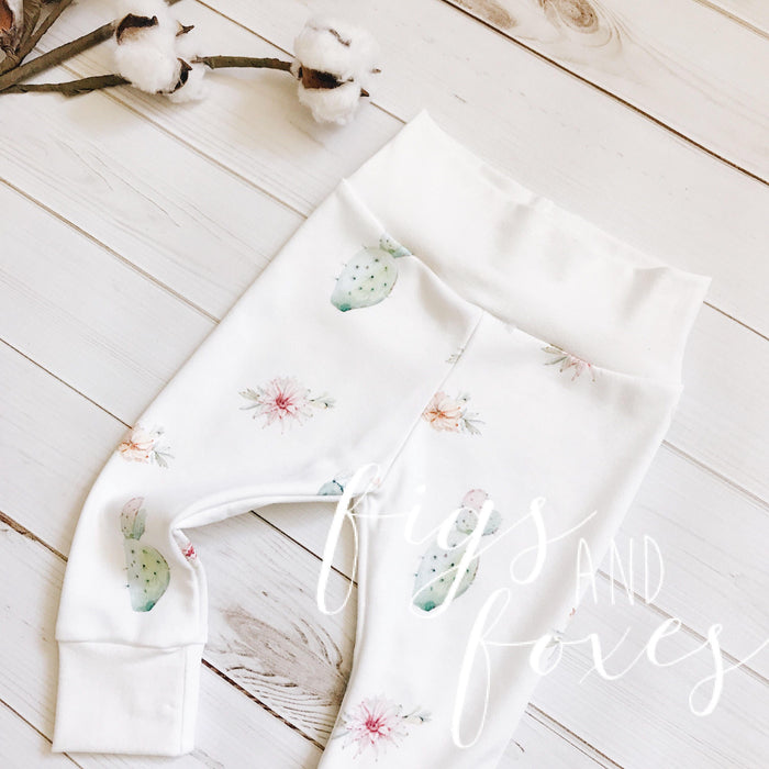 Watercolor Cactus Floral Leggings