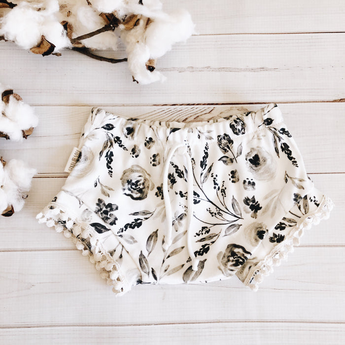 Boho Shorties - Black + Cream Floral