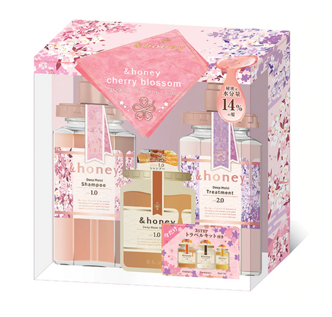 & HONEY CHERRY BLOSSOM DEEP MOIST SHAMPOO & TREATMENT SET