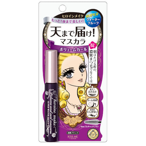 KISSME HEROINE MAKE VOLUME & CURL MASCARA SUPER WATER PROOF 01 DARK BLACK 6g