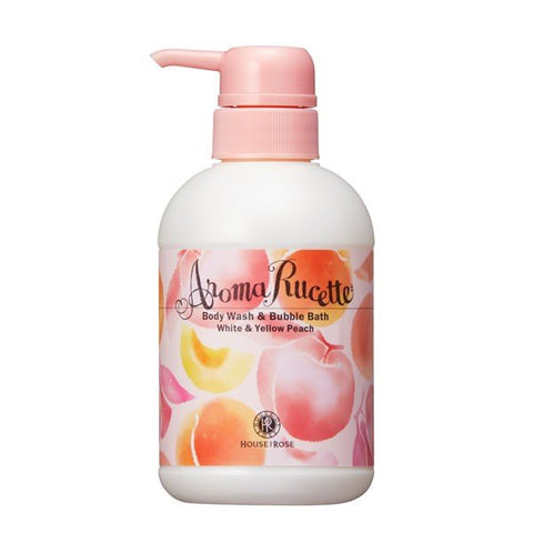 HOUSE OF ROSE AROMA RUCETTE BODY WASH & BUBBLE BATH #WHITE & YELLOW PEACH 350ml