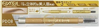 EXCEL POWDER & PENCIL EYEBROW EX PD08 HONEY BROWN