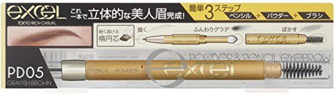 EXCEL POWDER & PENCIL EYEBROW EX PD05 GRAYISH BROWN