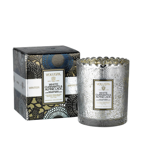 VOLUSPA WHITE CURRANTS & ALPINE LACE SCALLOPED CANDLE