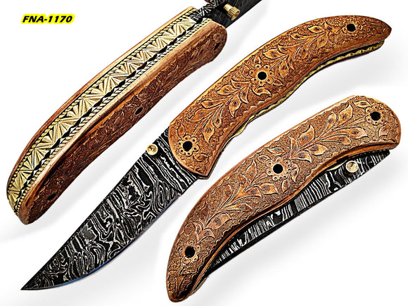 FNA-1170, Custom Handmade Damascus Steel 7.3 Inches Folding Knife - Gorgeous Brass Metal Engraving Work on Full Tang Browns Metal Handle