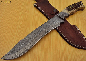 "REG-L-1323- Custom Handmade Damascus Steel 15.0"" Inches Hunting Knife"