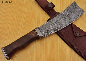REG-L-1318- Custom Handmade Damascus Steel 12.00 Inches Cleaver Knife.