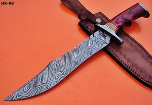 "REG-HK-96.Handmade Damascus Steel 15.2"" Inches Bowie Knife - Colored Pakka Wood Handle"