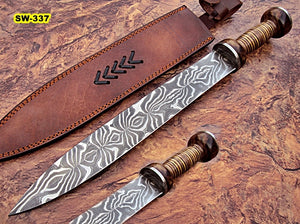 Sw-337, Handmade Damascus Steel 20.4 Inches Sword - Beautiful Colored Micarta Handle with Damascus Steel Guard