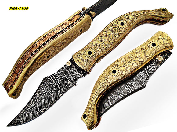 FNA-1169, Custom Handmade Damascus Steel 7.6 Inches Folding Knife - Gorgeous Hand Engraving on Full Tang Brass Handle