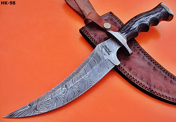 REG-HK-98, Handmade Damascus Steel 13.40 Inches Hunting Knife - Perfect Grip Black Pakka Wood Handle