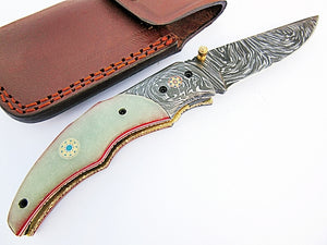 FA-1113, Custom Handmade Damascus Steel Folding Knife - Solid (G-10) Micarta & Two Muzike Pin Handle with Damascus Steel Bolster,Amazing File Work On Browns Metal.