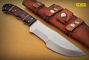 TR-254, Custom Handmade Hi Carbon Steel Tracker Knife - Solid Rose Wood & Buffelu Horn Handle
