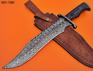 REG-MU-780, Custom Handmade Damascus Steel 17.00 Inches Hunting Knife - Stunning Black Pakka Wood Handle with Damascus Steel Guard
