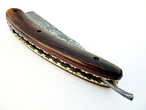 RZ-2083 (New), Custom Handmade Damascus Steel Straight Razor - Beautiful File Work on Rose Wood Handle