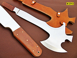 DIST-X-213, Custom Handmade 20.6 Inches Hi Carbon Steel Axe - Best Quality Canvas Micarta Handle with Carbon Steel Bolsters